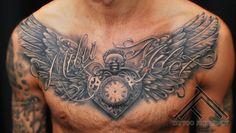 tattoo clock tattoo designs tattoo ideas clock with wings tattoo wings . Feather Tattoos, Forearm Tattoos, Sleeve Tattoos, Cool Chest Tattoos, Chest Piece Tattoos, Clock Tattoo Design, Tattoo Designs, Trendy Tattoos, Tattoos For Guys