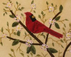Cardinal in branch needle felted