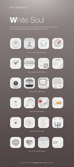[NHN_CAMP MOBILE] White soul icon set design by Lee Yong Ha, via Behance Web Design Icon, App Design, Flat Design, Behance Icon, Icons Web, Ui Buttons, Mobile Icon, Settings App, Ios Icon
