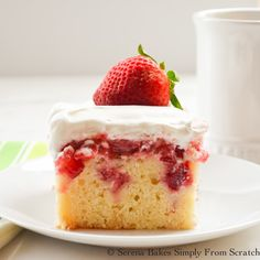 This yellow, buttermilk poke cake is extra moist and filled with pureed and chopped strawberries.