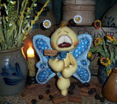"Primitive Daisy Bug Flower Butterfly 6"" Doll Patti's Ratties Bear Raggedy Ann"