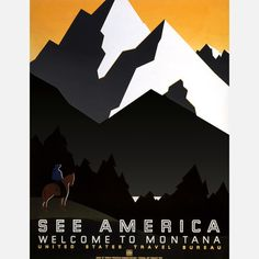 This digitally-reproduced poster with an illustration byMartin Weitzman, originally created in the late 1930s for the U.S. Travel Bureau, depicts a Montana mountain scene with a horse and its rider. First published by the Work Projects Administration Federal Art Project.