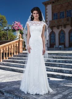 Sincerity wedding dress style 3837  Chifon, embroidered lace fit and flare dress accentuated with a sweetheart neckline.  #modest #veil