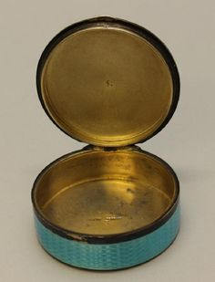 Lot: Blue Guilloche Enamel Sterling Box, Lot Number: 3126, Starting Bid: $100, Auctioneer: Alderfer Auction, Auction: Fine and Decorative Arts Auction, Date: March 30th, 2017 MDT