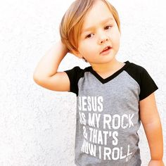 Jesus Is My Rock Tee - Black Black Kids Fashion, Little Kid Fashion, Boy Fashion, Fashion Clothes, Fashion Dresses, Babies Fashion, Fashion Tights, Fashion 101, Cheap Fashion
