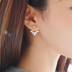 2018 New Zircon Crystal Ear Cuff Clip Leaf Stud Earrings For Women Jacket Piercing Earrings Fine Jewelry Brincos Crystal Earrings, Women's Earrings, Diamond Earrings, Jacket Earrings, Flower Earrings, Crystal Rhinestone, Crystal Rose, Unique Earrings, Clear Crystal