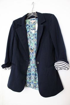 Like the top and look...41Hawthorn Benson 3/4 Ruched Sleeve Blazer in navy with Skies are Blue Amil V-Neck Blouse in light green.
