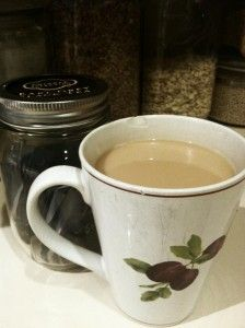 The London Fog... one of my favorite ways to enjoy a cuppa': 2 bags Earl Grey tea in a mug with boiling water. Brew 3 1/2 minutes. Heat cream on the side. Stir in with 1 tsp vanilla and sweetener.