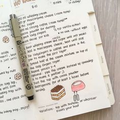 Ideas for Recipes in your bullet journal Bullet Journal Ideas Pages, Bullet Journal Inspiration, Homemade Recipe Books, Diy Recipe Book, Family Recipe Book, Family Recipes, Recipe Book Design, Scrapbook Recipe Book, Recipe Drawing