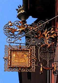 Old wrought iron pub sign,Kleiner Meyerhof,Rathausgasse 27,Freiburg im Breisgau,Baden-Wuerttemberg,Germany,Europe photo