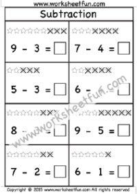 Beginner Subtraction – 2 Kindergarten Subtraction Worksheets