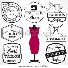 Labels, Badges and Signs for Tailor Shop in Retro Style