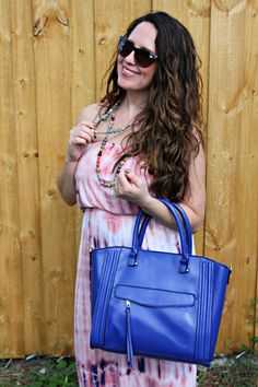 This cobalt bag worked for summer and now it's a perfect fall bag. The maxi would work for fall too...Just throw a jacket on top! -  BonBon Rose Girls