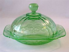 Green Depression Glass Madrid butter dish