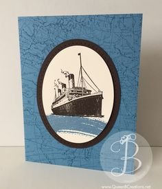 Handmade card using the Stampin' Up! Traveler and Work of Art stamp sets and the World Map background stamp.