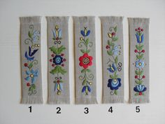 Embroidery Stitches, Hand Embroidery, Embroidery Designs, Polish Folk Art, Hungarian Embroidery, Wool Applique, Sewing Techniques, Bookmarks, Cross Stitch Patterns