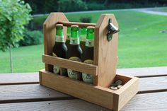 Wooden Six Pack Beer Carrier with Bottle by CrossroadsWoodcraft