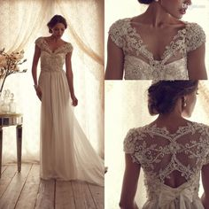 Discount Charming 2014 Wedding Dresses Anna Campbell Gossamer Collection Off Shoulder Lace Beads Bow A-Line Hollow Inspiration Beach Bridal ...