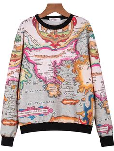 Shop White Long Sleeve Map Print Loose Sweatshirt online. Sheinside offers White Long Sleeve Map Print Loose Sweatshirt & more to fit your fashionable needs. Free Shipping Worldwide!
