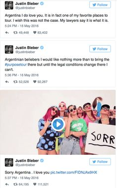 Justin Bieber probably shocked many of his Argentinian fans when he revealed the country will not be a part of his Purpose world tour. But why? Justin Bieber is currently in the middle of his Purpose world tour and explained on Twitter why he won...