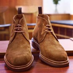 Some really nice tobacco suede chukkas from Carmina.  Beautiful yet casual.