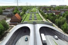 Hamburg's plan to hide its highway underground and cover it with green space will reconnect a divided city. When the highway was first built in Hamburg, Germany, it sliced the city in half. Highway Architecture, Urban Architecture, Futuristic Architecture, Architecture Diagrams, Architecture Portfolio, Sustainable City, Sustainable Design, Eco City, Futuristic City