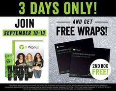 WOOOHOOO!! BOGO WRAPS!!  If you have been thinking of joining my amazing It Works! team NOW is the time!! For 48 more hours you can get TWO boxes of wraps with your Distributor kit..... $200 worth of wraps for only $99 AND you can earn a $500 bonus and $500  in commissions AND $5000 if you reach the rank of diamond in the month of September!! All this money on the table  dot dot dot what are you waiting for? LET'S DO THIS!  Who's in?  Message me or comment BOGO ME below! This doesn't happen…