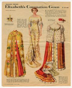 Elizabeth's Coronation Gown    paper doll    1953  ArtistAndre Durenceau  Materiallithographed paper  OriginUSA  Stylenewspaper