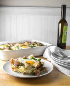 Ham, Asparagus, and Cheese Strata
