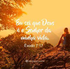 Eu sei que Deus é o Senhor da minha vida. Êxodo 7:17. #mensagenscomamor #frases #versículos