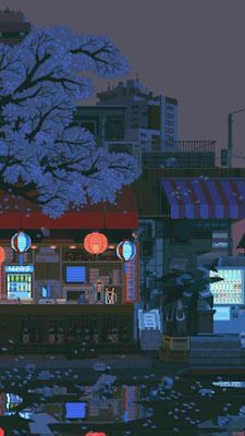 waneella is creating pixel art waneella schafft pixelkunst Aesthetic Gif, Aesthetic Wallpapers, Arte 8 Bits, Pixel Art Background, Japon Illustration, 8bit Art, Anime Scenery, Cute Wallpapers, Anime Backgrounds Wallpapers