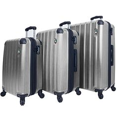 Luggage Sets Collections | Mia Toro Lega Spazzolato Hardside Spinner 3 Piece Set Grey One Size ** Click image for more details.(It is Amazon affiliate link) #baby