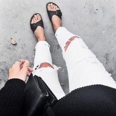STYLE INSPIRATION   Ripped white denim, black slides and black knit!!  #styleinspiration #monochrome #white #black #jeans #styledbyjade