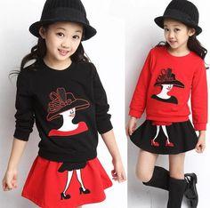 2016 printemps automne nouvelle mode enfants filles ensembles de vêtements 2 pcs cartoon chandail à manches longues jupe enfants robe vêtements 3-12age