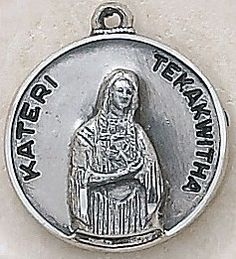 "SAINT KATERI TEKAWITHA MEDAL, Price includes shipping to all fifty states. Solid sterling silver medal, approx. 3/4"" in circumference. Gift boxed with a complimentary 18"" stainless steel chain. Carries the Creed lifetime guarantee."