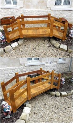 Now we are going to show you another idea for adorning the garden, this is a bridge decoration piece and it is easy to copy. The pallets are painted brown to make the bright look prominent in the garden.