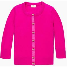kate spade new york Afton Cardigan (540 BRL) ❤ liked on Polyvore featuring tops, cardigans, vivid snapdragon, crewneck cardigan, crew neck tops, three quarter sleeve tops, pink cardigan and kate spade