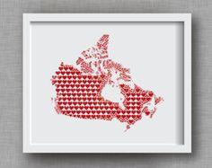 Canada Art Print - 8x10 Canada Heart Map - Canadian Art Print, Canada Love, Canada Gift, Canada Wedding