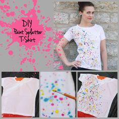 'DIY Paint Splatter T-Shirt...!' (via pearlsandscissors.com)