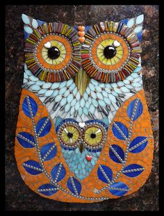 Owl made from Mosaic Tiles art Owl Mosaic, Mosaic Birds, Mosaic Art, Mosaic Glass, Glass Art, Stained Glass, Mosaic Crafts, Mosaic Projects, Mosaic Ideas