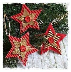 Over 20 handmade cardboard Christmas trinkets! - Over 20 handmade cardboard Christmas trinkets! Handmade Christmas Decorations, Christmas Ornaments To Make, Christmas Crafts For Kids, Xmas Crafts, How To Make Ornaments, Homemade Christmas, Christmas Projects, Christmas Diy, Handmade Ornaments