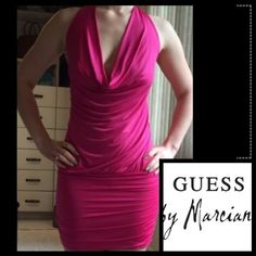 Marciano by Guess💖Sexy💕Jungle Pink Corset Dress Beautiful pink tie up dress💖Marciano by Guess💖worn once💖drape neck❤rusched sides❤️corset backing tying into a bow❤️adorable detailing💖 sz small🚫trades🚫 please use offer button via all listings thank you💋 Marciano Dresses Mini