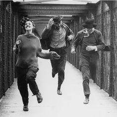 "Jeanne Moreau, Oskar Werner, Henri Serre in the movie ""Jules et Jim"" (1961) directed by François Truffaut."