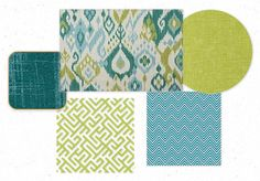 Blue and Green Coordinating Fabric Scheme by maajick | Olioboard