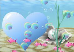 Meer. rosa fische. Perle. Blaues Herz auf dem grund, Seifenblasen Desserts, Pink, Soap Bubbles, Pisces, Heart, Pictures, Tailgate Desserts, Deserts, Postres