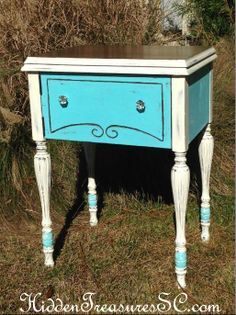 """Re-purposed Antique Sewing Cabinet Painted with Mother Earth Paint """"Sea Glass"""" and Annie Sloan """"Old White"""""""