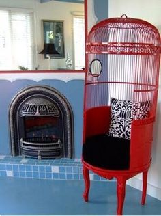 ~ love that red birdcage chair Funky Furniture, Repurposed Furniture, Cheap Furniture, Unique Furniture, Furniture Design, Luxury Furniture, Vintage Furniture, Furniture Stores, Sweet Home