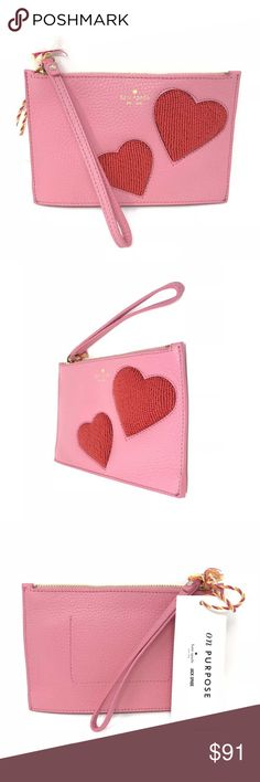 Kate Spade Purpose Heart Pink Sunset Mini Wristlet item# 273141545296  Kate Spade On Purpose Heart Pink Sunset Mini Leather Wristlet UVRU0180 $128 100% Authentic Kate Spade!  Buy with confidence!  Size: 4.7H x 7.4W x .78D  MATERIAL: 100% leather Beaded detail  FEATURES: Wristlet with zipper closure Style # UVRU0180 Imported  Please feel free to ask any questions. Happy shopping! kate spade Bags Clutches & Wristlets