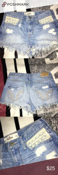 Hollister Jean Shorts No flaws at all. Super cute and quite short. I'm pretty sure they're meant to be high waisted. Make me an offer! Trade value is higher Hollister Shorts Jean Shorts