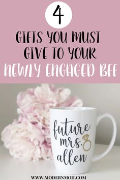 4 personalized engagement gifts for your newly engaged best friend or sister. Engagement gift ideas for the bride and for couples. #engagementgiftforcouples #engagementgiftforthebride #personalizedengagementgiftideas   modernmoh.com via @modernmoh Engagement Gift Baskets, Engagement Gifts For Bride, Personalized Engagement Gifts, Wedding Gifts For Groomsmen, Engagement Couple, Groomsman Gifts, Engagement Ideas, Engagement Presents, Gifts For Engaged Friend